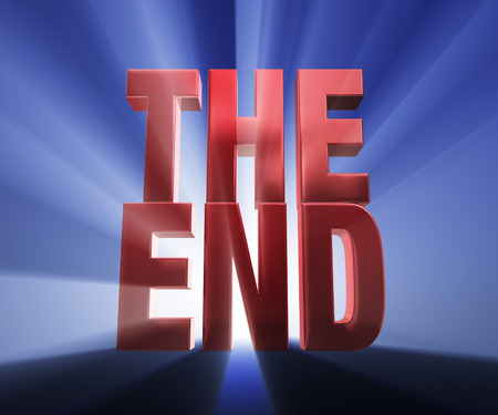 demise: Bold, red  THE END  on a dark blue background brilliantly backlit with light rays shining through  Stock Photo