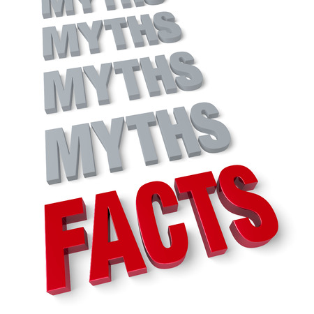 in fact: Bold, bright red  FACTS  in front of a row of plain, gray  MYTHS    Isolated on white  Stock Photo