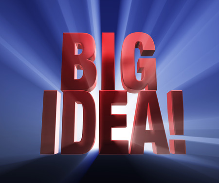 imposing: Bold, red  BIG IDEA on a dark blue background brilliantly backlit with light rays shining through  Stock Photo