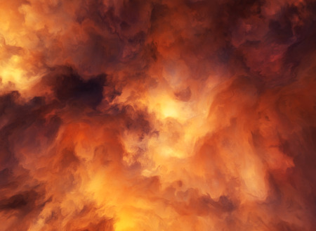 hellfire: Illustrated background of roiling red and yellow clouds of intense energy and searing heat