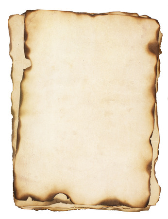 charred: Pile of several weathered, old papers with fire damaged and burned edges  Isolated on white