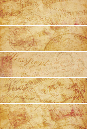 Four vintage style travel related banners created from aging paper and old 1920 travel documents  photo