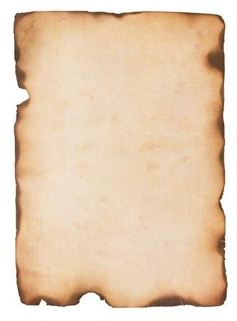 화재와 세 및 스테인드 종이 손상 및 가장자리 구운 화이트 절연 스톡 콘텐츠 - 23206771