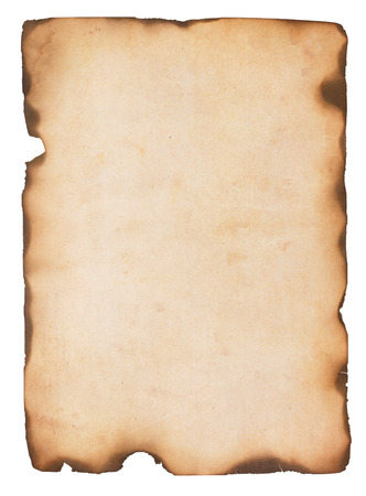 charred: Aged and stained paper with fire damaged and burned edges  Isolated on white