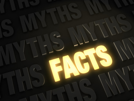 myth: Bold, glowing gold  FACTS  on a dark background of  MYTHS  Stock Photo
