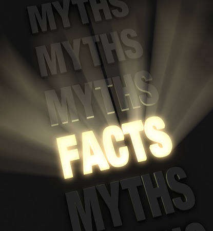 in fact: Brilliant light rays burst from a glowing, gold  FACTS  in a row of  MYTHS  on a dark background  Stock Photo