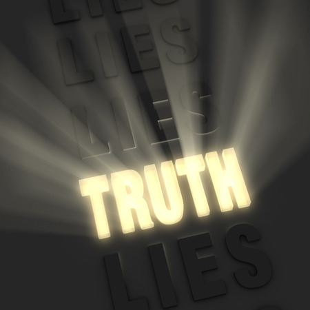 lie: Bright light rays burst from a bold, gold  TRUTH  in a row of  LIE s on a dark background