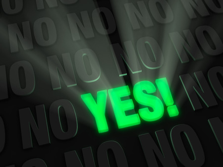 Light rays burst from bold, glowing green YES on a dark background of NOs  Stock Photo