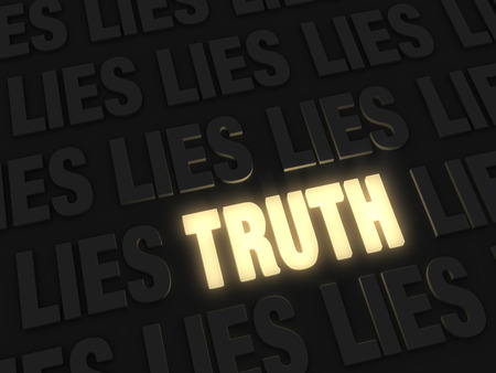 lie: A glowing bright, gold  TRUTH  on a dark background of  LIE s Stock Photo
