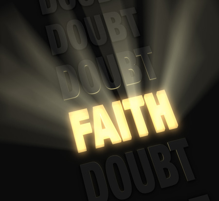 prevail: Bright light rays burst from a glowing, gold  FAITH  in a row of  DOUBT s on a dark background  Stock Photo
