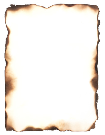 tattered: Burned edges isolated on white  Use as a frame or composite with any sheet of paper to give it the appearance of burned edges  Stock Photo