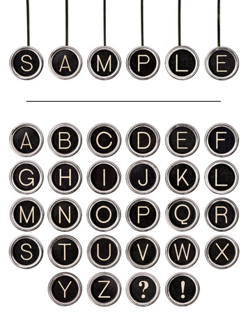 Six vintage typewriter keys, isolated on white, with full alphabet of old keys to create custom words   Includes clipping path for each key