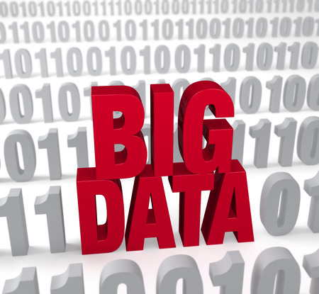 A large, red  BIG DATA  stands out in a field of binary  1 s and  0 s  Shallow DOF with focus on  BIG DATA   photo