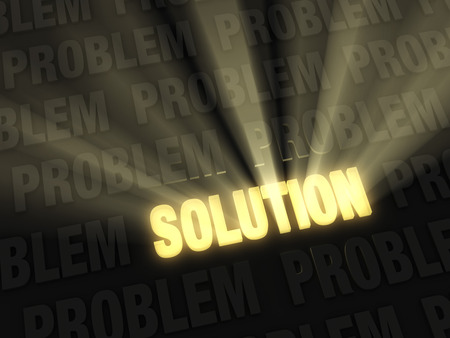 triumphant: Brilliant light rays burst from a glowing, gold  SOLUTION  on a dark background of  PROBLEMS   Stock Photo