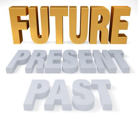 PAST 및 PRESENT는 밝은 금색으로 이어집니다. 미래는 미래입니다. 흰색은 격리 됨 스톡 콘텐츠