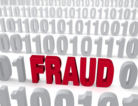 A large, red  FRAUD  stands out in a field of binary  1 s and  0 s  Shallow DOF with focus on  FRAUD  photo