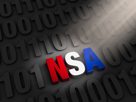 snoop: A spotlight illuminates a bold, red, white and blue  NSA  hidding on a dark of  1 s and  0 s  Stock Photo