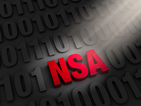 A spotlight illuminates a bold, red  NSA  hidding on a dark of  1 s and  0 s  photo