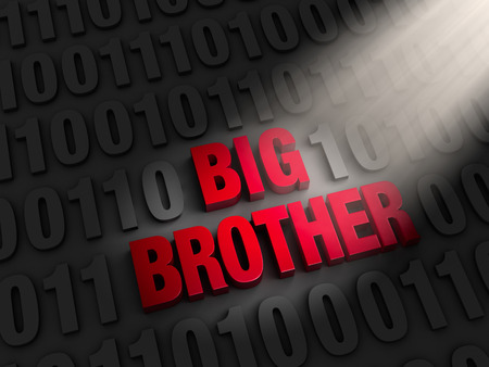 A spotlight illuminates bold, red  BIG BROTHER  on a dark background of computer code  photo