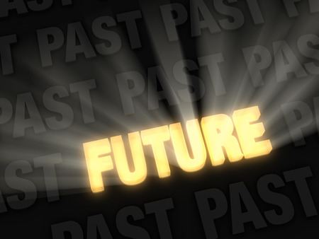 passing: Brilliant light rays burst from a glowing, gold  FUTURE  0n a dark background of  PAST s  Stock Photo