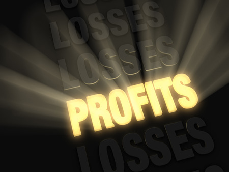 prevail: On a dark background, brilliant light rays burst from a glowing, gold  PROFITS  in a row of  LOSSES