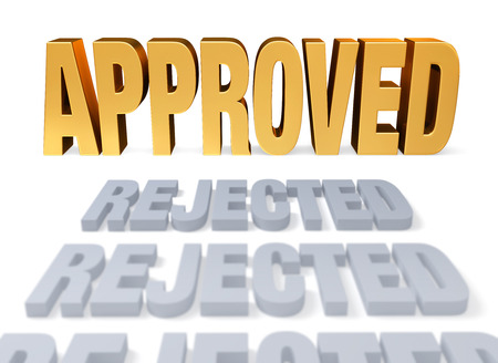 validated: Plain gray  REJECTION s lead to a bright, gold  APPROVED   Focus is on  APPROVED   Isolated on white