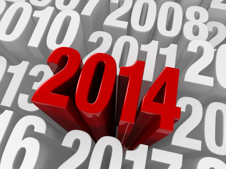 extends: A shiny bold, red  2014  extends past previous years in white