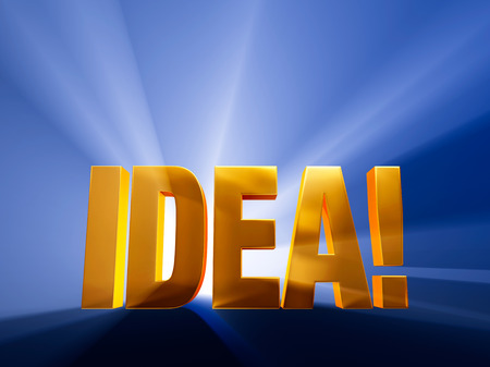 revelation: A confident, gold  IDEA   on a dark blue background brilliantly backlit with light rays shining through
