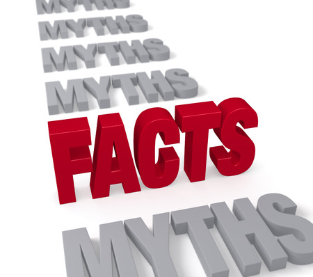 In a long row of plain gray  MYTHS , a bold, bright red  FACTS  stands tall, dominating the foreground   Focus is on  FACTS   Isolated on white
