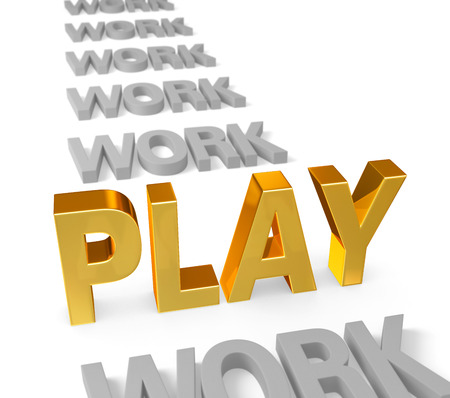 work life balance: In a long row of dull, gray  WORK , a bright, gold  PLAY  stands up, dominating the foreground  Focus is on  PLAY   Isolated on white