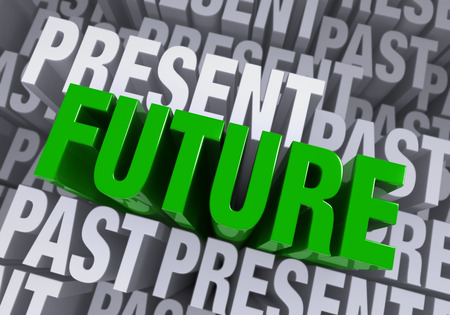 the past: A bold, green  FUTURE  arises from a blue gray background consisting of the words  PAST  and  PRESENT  repeated many times at different heights  Stock Photo
