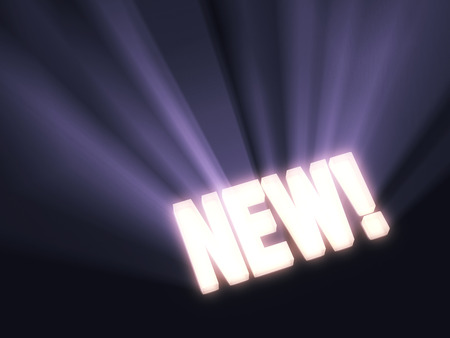 new and improved: Brilliant blue light rays burst from a glowing, gold  NEW  on a dark background