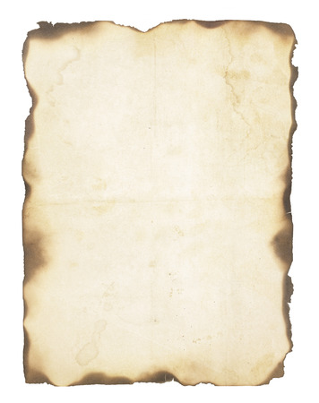 white textured paper: Very old, creased paper with fire damaged and burned edges  Blank with room for text or images  Isolated on white  Stock Photo