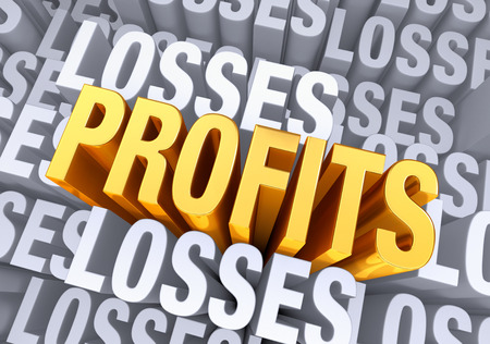 A bold, bright gold  PROFITS  emerges from a gray background consisting of the word  LOSSES  repeated many times a different depths