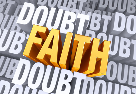 A bold, bright gold  FAITH  emerges from a gray background consisting of the word  DOUBT  repeated many times a different depths  Stock Photo