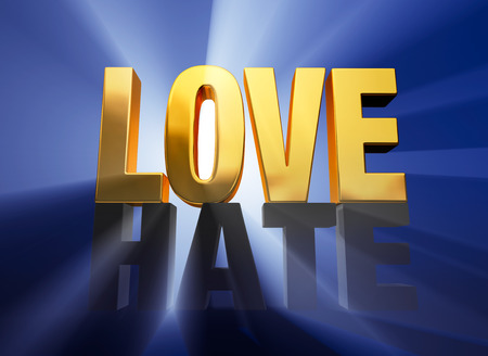 atop: A bright, gold  LOVE  sits atop a dark gray  HATE  brilliantly backlit on a deep blue background