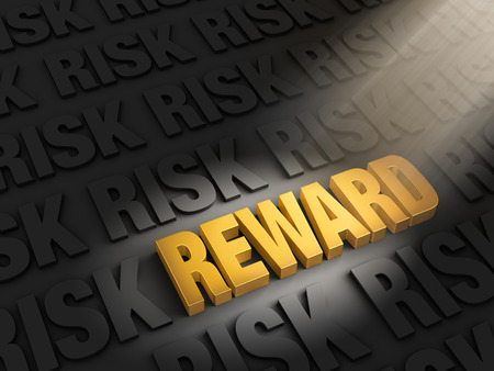 rewards: A spotlight illuminates bright, gold  REWARD  on a dark background of  RISK