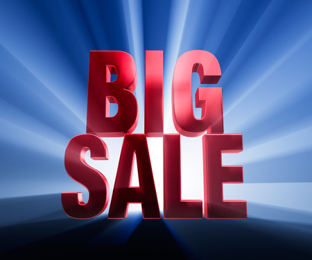 brilliantly: Bold, red  BIG SALE  on a dark blue background brilliantly backlit with light rays shining through  Stock Photo