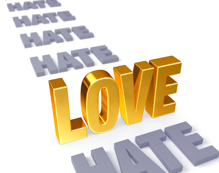 overcome: In a long row of plain gray  HATE s, a bright, gold  LOVE  stands up, dominating the foreground   Focus is on  Love   Isolated on white