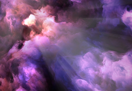 Surreal, vivid, dark purple and red storm clouds swirl and billow around a brilliant gap through which light rays stream