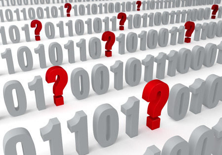 A several question marks appear throughout a field of binary computer code  Shallow DOF