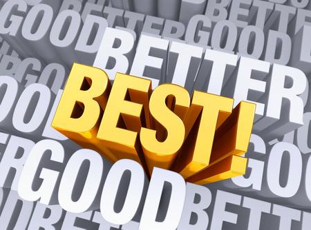 exceeding: Un brillante, oro MEJOR surge a estar por encima de un fondo consistente en la palabra bueno y mejor repiten muchas veces a diferentes profundidades Foto de archivo