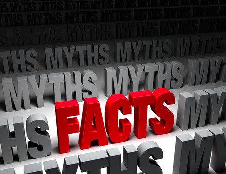 in fact: A glaring bright, red  FACTS  stands out in a dark field of  MYTHS
