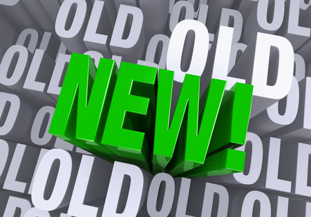 exciting: A bold, green  NEW   arises to stand above a gray background consisting of the word  OLD  repeated many times at different depths  Stock Photo