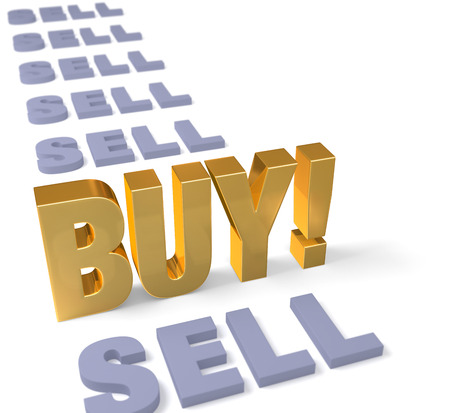 wallstreet: In a long row of dull, gray  SELL s, a bright gold  BUY   stands tall, dominating the foreground  Focus is on  BUY    Isolated on white