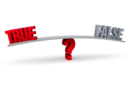 in fact: A red  TRUE  and a gray  FALSE  sit on opposite ends of a gray board which is balanced on a red question mark  Isolated on white  Stock Photo