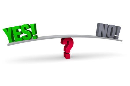 acceptance: A bright, green  YES   and a gray  NO   sit on opposite ends of a gray board which is balanced on a red question mark  Isolated on white