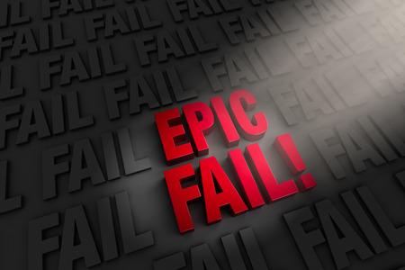 botched: A spotlight illuminates a large, red  EPIC FAIL   on a dark background of  FAIL s Stock Photo
