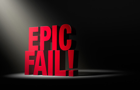 단일, 각진 스포트라이트가 어두운 배경에 빨간색 EPIC FAIL을 나타냅니다.
