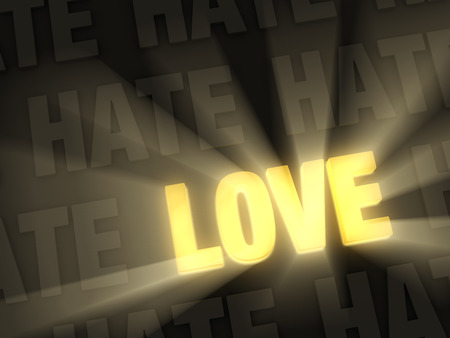 finding love: Brilliant light rays shine from a warm, glowing, gold  LOVE  in a row of  HATE s on a dark background